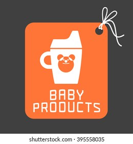Baby products vector logo. Illustration of milk bottle, sippy cup for newborn