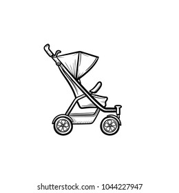 Baby pushchair hand drawn outline doodle icon. Pram for baby vector sketch illustration for print, web, mobile and infographics isolated on white background.
