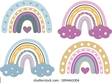 Baby Rainbow Clipart, Nursery Rainbow Decoration, Svg, Rainbow Clipart Bundle, Pastel Colors, Rainbow for Printing and for Cutting - Shutterstock ID 1894461004