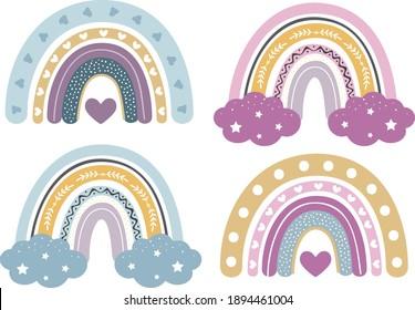 Baby Rainbow Clipart, Nursery Rainbow Decoration, Svg, Rainbow Clipart Bundle, Pastel Colors, Rainbow for Printing and for Cutting