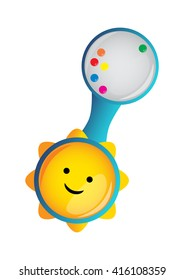 Baby rattle vector. Blue baby rattle isolated on white for boy