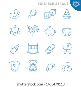 Baby related icons. Editable stroke. Thin vector icon set, black and white kit