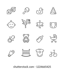 Baby related icons: thin vector icon set, black and white kit