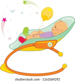 Baby rocking chair. Vector
