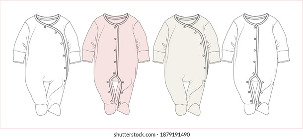 Baby Romper. Baby clothes Flat Sketch. vector illustration