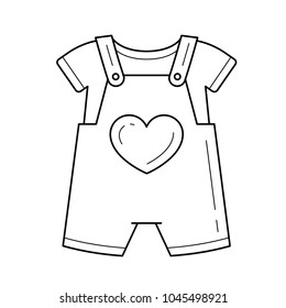 c97d76b657be Baby romper vector line icon isolated on white background. Clothes for  children - little romper