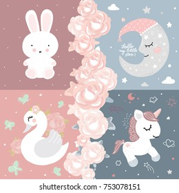 Baby room decor bunny unicorn moon swan