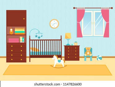 Baby room with furniture. Vector illustration.
