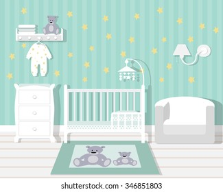 Baby room with furniture/Nursery interior/Flat style vector illustration/wall/Baby room/Nursery room/Baby room in Flat style
