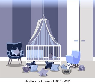 Baby room interior for boy with white furniture in flat style. Modern blue nursery design. Vector illustration.