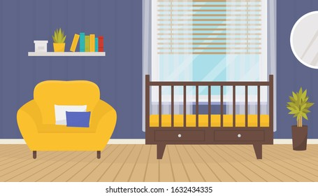 Baby room interior with crib and armchair. Cozy nursery. Kid zone. Home design. Flat vector illustration.