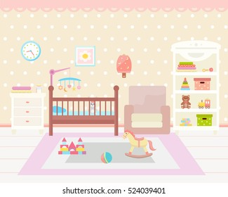 Baby room interior. Flat design. Baby room with  shelf, toys, baby cot, armchair, bedside  table, chair and rug. Children's room.