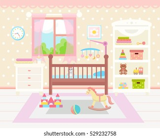 Baby room interior. Flat design. Baby room with a window, shelf,  toys, cot, bedside  table,  armchair, table, chair and rug. Children's room.