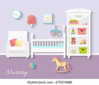 Baby room interior. Flat design. Newborn baby room with  shelf,