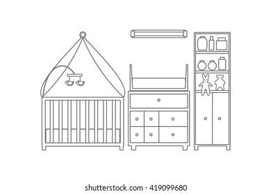 Baby room. Nursery interior. Vector line illustration.
