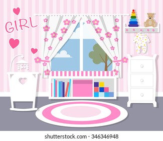 Baby room in pink/Baby room with furniture/Nursery interior/Flat style vector illustration/wall/Baby room/Nursery room/Baby room in Flat style/white furniture/toys/curtains/pajamas/girl
