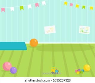 Baby room vector interior view babyroom decor children kindergarten interior illustration with furniture and toys. Nursery childhood interior boy or girl place