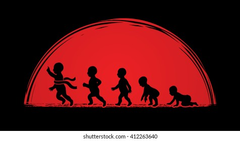 Baby running steps designed on sunlight background graphic vector