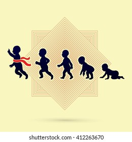 Baby running steps designed on line square background graphic vector