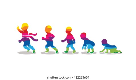 Baby running steps designed using colorful graphic vector