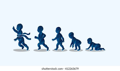 Baby running steps designed using blue grunge brush graphic vector