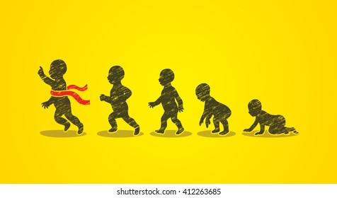 Baby running steps designed using grunge brush graphic vector