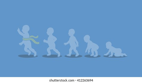 Baby running steps designed using dots pattern graphic vector