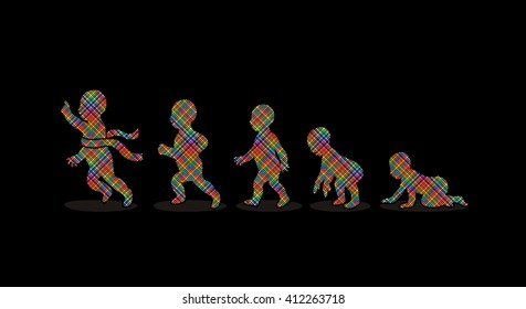 Baby running steps designed using colorful pixels graphic vector