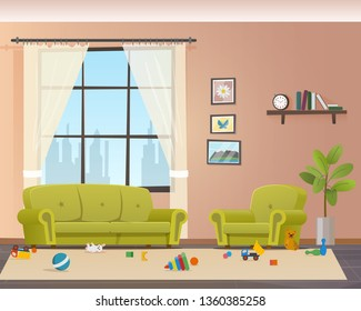 Baby Scattered Toys on Floor. Messy Living Room. Child Mess Space in Home Indoor Interior. Untidy House. Disorder Naugty Children Apartment Design. Flat Cartoon Vector Illustration
