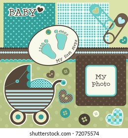Baby scrapbook elements, vector