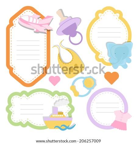 Baby Scrapbook Frames Stock Vector Royalty Free 206257009