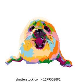 baby seal illustration. pop art style
