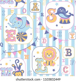 Baby seamless pattern. Alphabet and cute cartoon animals on striped background. Vector illustration.