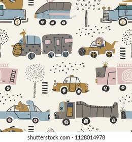 Baby seamless pattern with cute cars, lion, elephant and dinosaurs. Perfect for kids fabric, textile, nursery wallpaper. Vector Illustration. Scandinavian style.