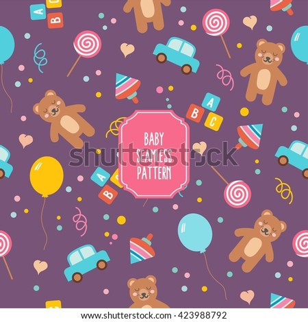 Baby Seamless Pattern Cute Cartoon Toys Stock Vector Royalty Free