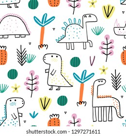 Baby seamless pattern with cute dinosaurus. Creative vector childish background for fabric, textile, nursery wallpaper. Vector Illustration.