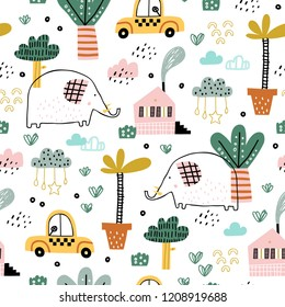 Baby seamless pattern with cute elephants, cars, clouds and tropical plants. Vector texture in childish style great for fabric and textile, wallpapers, backgrounds. Pastel colors.
