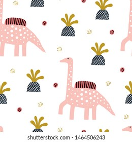 Baby seamless pattern with dinosaur and tropical leaves and flowers. Perfect for kids fabric, textile, nursery wallpaper. Cute dino design. Vector illustration.