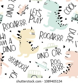 Baby seamless pattern with hand drawn dino and toy cars. Creative vector childish background for fabric, textile, nursery wallpaper. Pastel colors.
