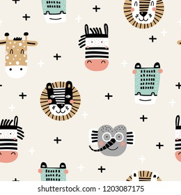 Baby seamless pattern with hand drawn animals. Trendy scandinavian vector background. Vector texture in childish style great for fabric and textile, wallpapers, backgrounds.