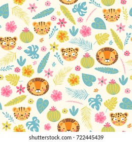 Baby seamless pattern with jungle animals and flowers. Cute background in vector.