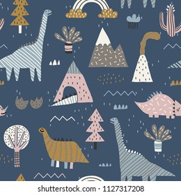 Baby seamless pattern with mountain, volcano, dinosaurs and tropical plants. Vector texture in childish style great for fabric and textile, wallpapers, backgrounds. Scandinavian style. Dark gamma.