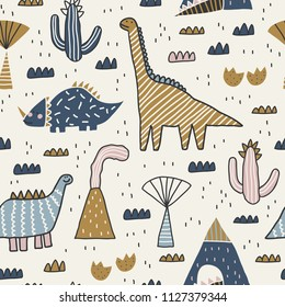 Baby seamless pattern with mountain, volcano, dinosaurs and tropical plants. Vector texture in childish style great for fabric and textile, wallpapers, backgrounds. Scandinavian style.