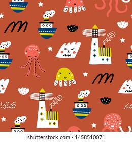 Baby seamless pattern with ship, jellyfish, lighthouse and waves. Scandinavian style. Summer marina background. Perfect for fabric, textile. Vector background.