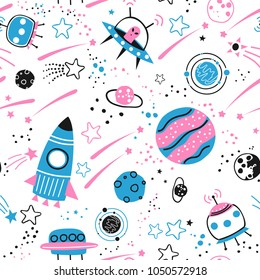 Baby seamless pattern - space, spaceships and planets with stars. Trendy kids vector background.