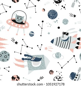 Baby seamless pattern - space, spaceships and planets with stars. Trendy kids vector background. Bunny, dog and cat in space ships.
