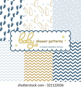 Baby seamless patterns arrival or shower boy. Vector illustration.