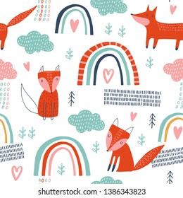 Baby seamless vector pattern. Cute fox and clouds on white background. Creative scandinavian kids texture for fabric, wrapping, textile, wallpaper, apparel. Vector illustration