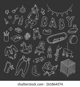 Baby set. Vector doodle collection of hand drawn icons for baby shower. Isolated