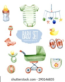 Baby set. Vector watercolor illustration.